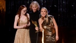 Amybeth McNulty, left to right, Moira Walley-Beckett and Miranda de Pencier accept their award at the Canadian Screen Awards in Toronto on Sunday, March 31, 2019. THE CANADIAN PRESS/Nathan Denette