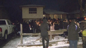 Dozens gathered to remember the 14-year-old boy who was found dead in a Mississauga laneway a year ago. (CP24)