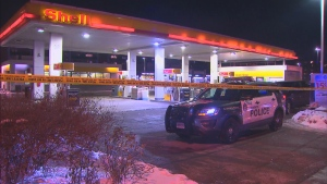 Police say three people were found with suffering from gunshot wounds at a gas station near Finch Avenue West and Weston Road on Saturday night. (CP24)