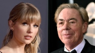 "This combination photo shows Taylor Swift at the American Music Awards in Los Angeles on Nov. 24, 2019, left, and Andrew Lloyd Webber at the 60th annual Grammy Awards in New York on Jan. 28, 2018. Swift and Webber were nominated for a Golden Globe award for best original song for ""Beautiful Ghosts,"" from the film ""Cats."" (AP Photo)"