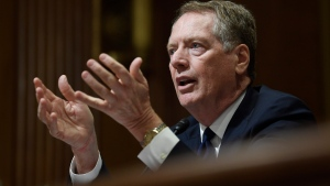 "Robert Lighthizer testifies before the Senate Finance Committee on Capitol Hill in Washington. Congressional Democrats appear to be moving from ""no way'' to ""maybe'' on President Donald Trump's rewrite of a trade pact with Canada and Mexico. House Democrats have met four times with Lighthizer, most recently on Friday, July 26, and both sides say they are making progress toward a deal that would clear the way for Congress to approve Trump's U.S.-Mexico-Canada Agreement, or USMCA. (AP Photo/Susan Walsh, File)"