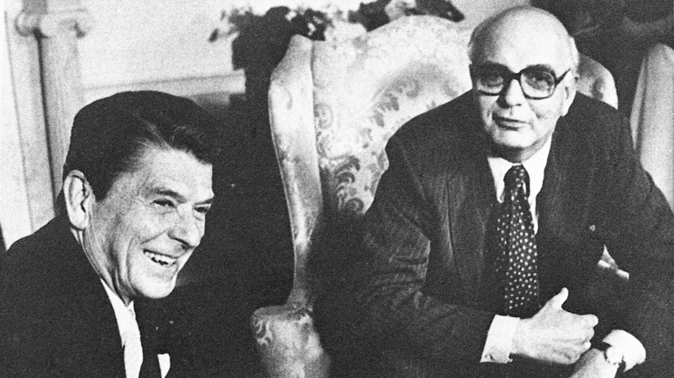 In this July 16, 1981, file photo Federal Reserve Board chairman Mr. Paul Volcker, right, meets with President Ronald Reagan in the Oval Office in Washington. (AP Photo/J. Scott Applewhite File)