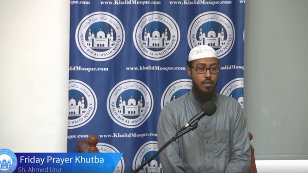 Ahmed Urur is seen speaking during Friday prayers at Khalid Bin Al-Walid mosque in Rexdale in a Facebook video posted in July 2019.