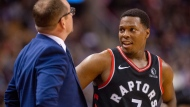 Toronto Raptors' Kyle Lowry (7) talks with head coach Nick Nurse during first half NBA action against the Detroit Pistons in Toronto on Wednesday October 30, 2019. THE CANADIAN PRESS/Frank Gunn