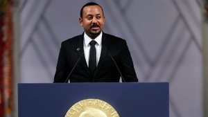 Ethiopia's Prime Minister Abiy Ahmed makes a speech during the Nobel Peace Prize award ceremony in Oslo City Hall, Norway, Tuesday Dec. 10, 2019. (Stian Lysberg Solum/NTB Scanpix via AP)