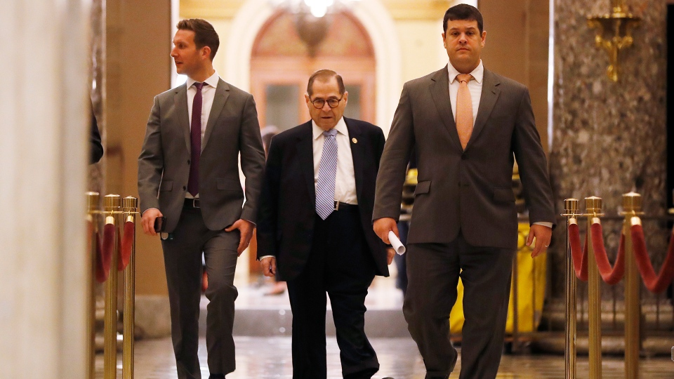 House Judiciary Committee Chairman Rep. Jerrold Nadler, D-N.Y., center, walks to House Speaker Nancy Pelosi's office, Tuesday morning, Dec. 10, 2019, on Capitol Hill in Washington. (AP Photo/Andrew Harnik)