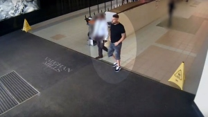 A suspect in a death threats investigation at a mall in Vaughan is shown in this surveillance camera image. (York Regional Police)
