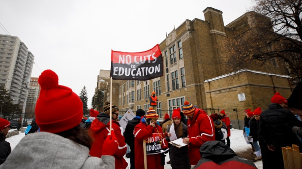 Striking teachers of the Ontario Secondary School Teachers Federation walk the picket line outside of Northern Secondary School in Toronto, Wednesday, Dec. 4, 2019. THE CANADIAN PRESS/Cole Burston