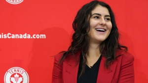Bianca Andreescu speaks to reporters during a media availability in Toronto, Tuesday, Dec.10, 2019. Andreescu was awarded the 2019 Lou Marsh Trophy as Canada's athlete of the year on Monday. THE CANADIAN PRESS/Hans Deryk