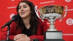 Bianca Andreescu speaks during a media availability in Toronto, Tuesday, Dec.10, 2019. Andreescu was awarded the 2019 Lou Marsh Trophy as Canada's athlete of the year on Monday. THE CANADIAN PRESS/Hans Deryk