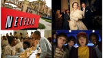 "This combination photo shows, clockwise from top left, Netflix headquarters in Los Gatos, Calif., Claire Foy and Matt Smith in a scene from ""The Crown,"" Noah Schnapp, Finn Wolfhard, Gaten Matarazzo and Caleb Mclaughlin in a scene from ""Stranger Things,"" and Uzo Aduba, left, and Samira Wiley appear in a scene from ""Orange is the New Black."" It took less than a decade for leader Netflix to skyrocket from about 12 million U.S. subscribers at the decade's start to 60 million this year and 158 million worldwide. (AP Photo, top left, and Netflix via AP)"