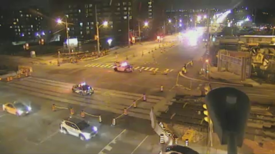 Toronto police have closed the intersection of Victoria Park Avenue and Eglinton Avenue East after a pedestrian was struck.