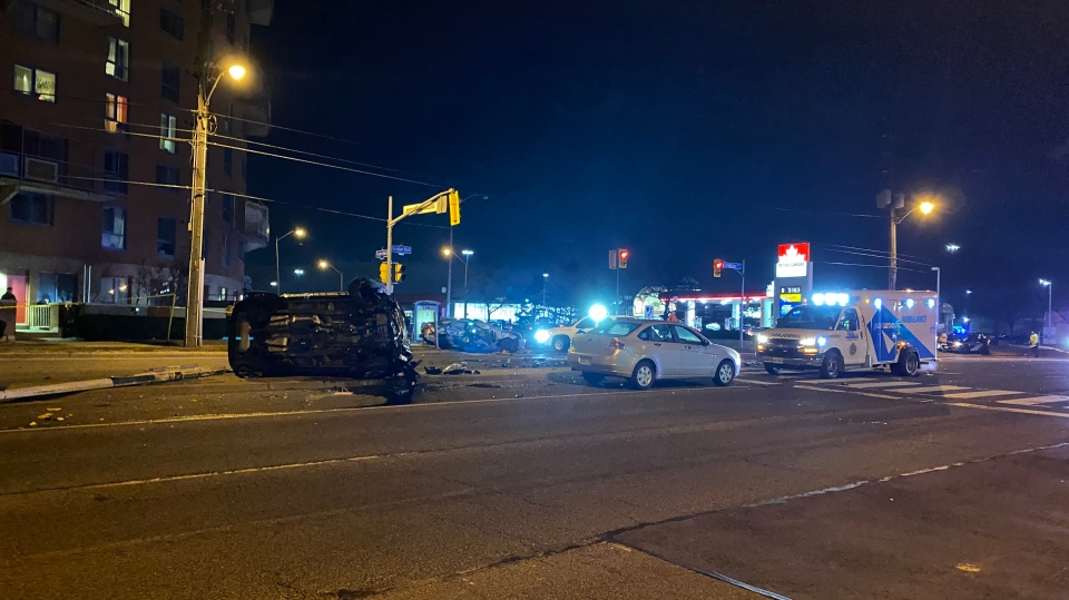 Toronto police are investigating a two-vehicle collision that left one person dead and two others injured on Wednesday night.