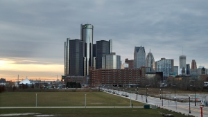 This Dec. 5, 2019, photo shows the Detroit skyline. An Associated Press analysis finds that Detroit tops the list of cities that will be hardest to count in the 2020 census. (AP Photo/Carlos Osorio)