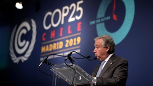 Antonio Guterres, Secretary-General of the United Nations delivers a speech at the COP25 climate talks summit in Madrid, Spain, Thursday, Dec. 12, 2019. (AP Photo/Manu Fernandez)