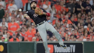 In this Tuesday, Oct. 29, 2019 file photo, Washington Nationals' Anthony Rendon throws out Houston Astros' George Springer during the third inning of Game 6 of the baseball World Series in Houston. Third baseman Anthony Rendon and the Los Angeles Angels agreed to a $245 million, seven-year contract a person with direct knowledge of the deal told The Associated Press, Wednesday, Dec. 11, 2019. (AP Photo/David J. Phillip, File)