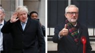 In this two photo combo image, showing the leaders of Britain's two main political parties outside their polling stations to vote Thursday Dec. 12, 2019, in the general election. At left is Conservative Party leader Boris Johnson at Methodist Central Hall in Westminster area of London, and photo at right shows Britain's Labour Party leader Jeremy Corbyn, in Islington area of London. Voting is underway across the country in a general election that may resolve the stalemate over Brexit, widely seen as one of the most decisive votes in modern times. (AP Photo/Frank Augstein, Thanassis Stavrakis)