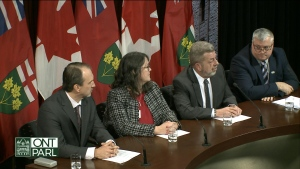 The leaders of Ontario's four major teacher unions are shown during a press conference at Queen's Park on Thursday morning.