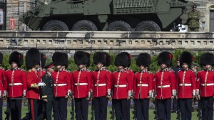 The federal government is predicting Canadian defence spending as a share of GDP will increase more over the next five years than originally planned -- though not because of any major new injections of funds into the military. Chief of Defence Staff Jonathan Vance inspects the troops during a change of command parade on Parliament Hill Tuesday, August 20, 2019 in Ottawa. THE CANADIAN PRESS/Adrian Wyld