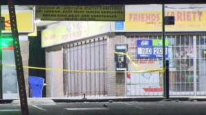 Police tape is shown at the scene of a shooting at Yorkwoods Plaza early Friday morning.