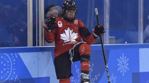 Canada forward Meghan Agosta (2)celebrates her goal against the United States during second period preliminary round women's hockey action at the 2018 Olympic Winter Games in Pyeongchang, South Korea, on Thursday, February 15, 2018. Boy or girl, Meghan Agosta was going to name her first child Chance. The name represents the chances Agosta sees in her life to combine motherhood, policing and hockey. THE CANADIAN PRESS/Nathan Denette