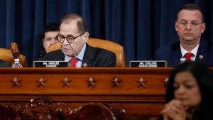 House Judiciary Committee Chairman Rep. Jerrold Nadler, D-N.Y., left, gavels the hearing to a close after the House Judiciary Committee voted on the articles of impeachment against President Donald Trump, Friday, Dec. 13, 2019, on Capitol Hill in Washington. House Judiciary Committee ranking member Rep. Doug Collins, R-Ga., is right. Trump impeachment goes to full House after Judiciary panel approves charges of abuse of power, obstruction of Congress. (AP Photo/Andrew Harnik)