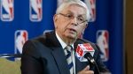 In this Wednesday, May 15, 2013 file photo, NBA Commissioner David Stern takes a question from a reporter during a news conference following an NBA Board of Governors meeting in Dallas. The NBA says former Commissioner David Stern suffered a sudden brain hemorrhage Thursday, Dec. 12, 2019 and underwent emergency surgery. The league says in a statement its thoughts and prayers are with the 77-year-old Stern's family. (AP Photo/Tony Gutierrez, File)