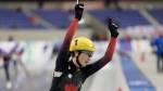 Canada's Ivanie Blondin celebrates after winning in the ladies mass start race of the speed skating World Cup at the M-Wave in Nagano, Japan, Friday, Dec. 13, 2019. (AP Photo/Toru Hanai)