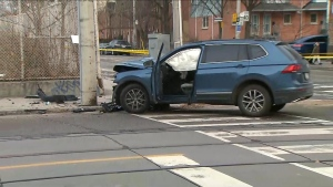 The scene of a collision is pictured at Queen and parliament streets Friday December 13, 2019.