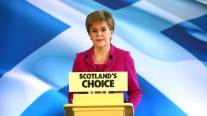 Scottish First Minister Nicola Sturgeon speaks to supporters in Edinburgh, Scotland, Friday Dec. 13, 2019. Prime Minister Boris Johnson has led his Conservative Party to a landslide victory in Britain's election that was dominated by Brexit. (Jane Barlow/PA via AP)
