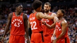Toronto Raptors guard Kyle Lowry (7) talks with guard Patrick McCaw (22) as forward Pascal Siakam (43) and centre Marc Gasol (33) look on during the second half of their NBA basketball game against the Brooklyn Nets in Toronto, Saturday, Dec. 14, 2019. THE CANADIAN PRESS/ Cole Burston
