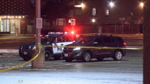 An SUV that a man with a gunshot wound was found inside of early Sunday morning is shown. The man was pronounced dead at the scene.