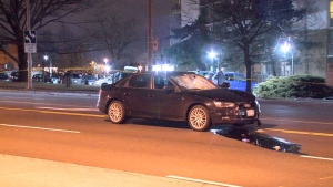 A vehicle that struck a pedestrian on Lawrence Avenue near McCowan Road early Sunday morning is shown. The pedestrian died while en route to hospital.