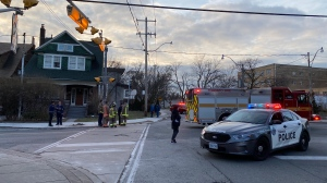 Emergency crews are pictured at the scene where a girl was struck by a Toronto Fire service vehicle Monday December 16, 2019. (Peter Muscat)