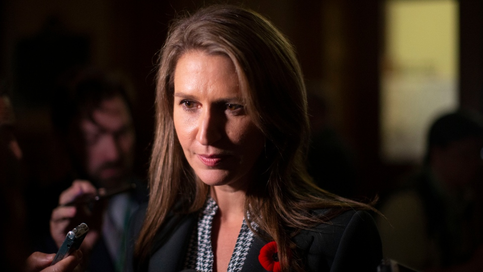 Ontario's Minister of Transportation Caroline Mulroney, scrums with the media in the Ontario Legislature in Toronto, on Monday, October 28, 2019. THE CANADIAN PRESS/Chris Young