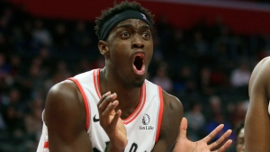 Toronto Raptors forward Pascal Siakam (43) reacts after being whistled for a foul against the Detroit Pistons during the first half of an NBA basketball game Wednesday, Dec. 18, 2019, in Detroit. (AP Photo/Duane Burleson)