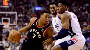 Toronto Raptors guard Kyle Lowry (7) drives to the net past Washington Wizards guard Admiral Schofield (1) during first half NBA basketball action in Toronto, Friday, Dec. 20, 2019. THE CANADIAN PRESS/Frank Gunn