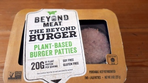 A package of meatless burgers are seen in Orlando, Fla., on June 26, 2019. When A&W started serving Beyond Meat veggie burgers at its restaurants, the fast-food chain offered many patrons their first bite of the much touted, celebrity backed plant-based patty. In the year and a half since, Canadians continued searching for plant-based options at home and on the go. By the time A&W added a plant-based nugget in December, many fast-food chains -- even long-time holdout McDonald's Canada -- boasted a trendy vegetarian menu item, too. THE CANADIAN PRESS/AP, John Raoux