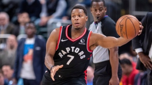 Toronto Raptors guard Kyle Lowry (7) saves the ball from going out-of-bounds during the overtime period of an NBA basketball game against the Indiana Pacers, Monday, Dec. 23, 2019, in Indianapolis. The Pacers won 120-115 in OT. (AP Photo/Doug McSchooler)