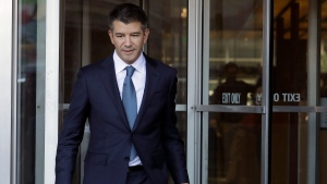 In this Feb. 7, 2018, file photo, former Uber CEO Travis Kalanick leaves federal court in San Francisco. (AP Photo/Jeff Chiu, File)