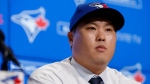 Toronto Blue Jays newly signed pitcher Hyun-Jin Ryu is seen during a press conference announcing his signing to the team, in Toronto, Friday, Dec. 27, 2019. THE CANADIAN PRESS/ Cole Burston