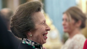 In this Tuesday, Dec. 3, 2019 file photo, Britain's Princess Anne talks to guests during a reception at Buckingham Palace, as NATO leaders gather to mark 70 years of the alliance, in London. (Yui Mok/Pool Photo via AP, File)