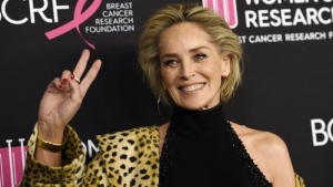 """In this Feb. 28, 2019, file photo, actress Sharon Stone poses at the 2019 """"An Unforgettable Evening"""" benefiting the Women's Cancer Research Fund, at the Beverly Wilshire Hotel in Beverly Hills, Calif. (Photo by Chris Pizzello/Invision/AP, File)"""