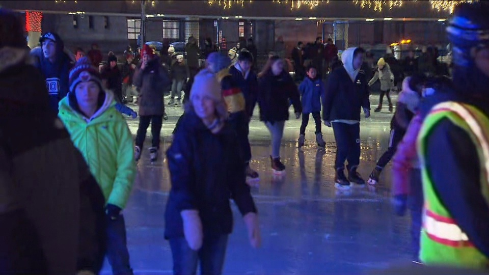 Skaters at Nathan Phillips Square hit the ice Tuesday night as part of Toronto's New Year's celebrations. (CP24)