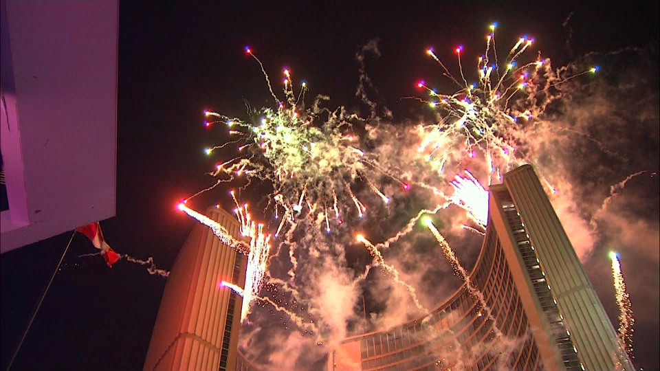 Torontonians and tourists packed into Nathan Phillips Square Tuesday night to ring in the new year. (CP24)