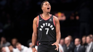 Toronto Raptors guard Kyle Lowry reacts in the second half of the team's NBA basketball game against the Brooklyn Nets, Saturday, Jan. 4, 2020, in New York. The Raptors won 121-102. (AP Photo/Mary Altaffer)