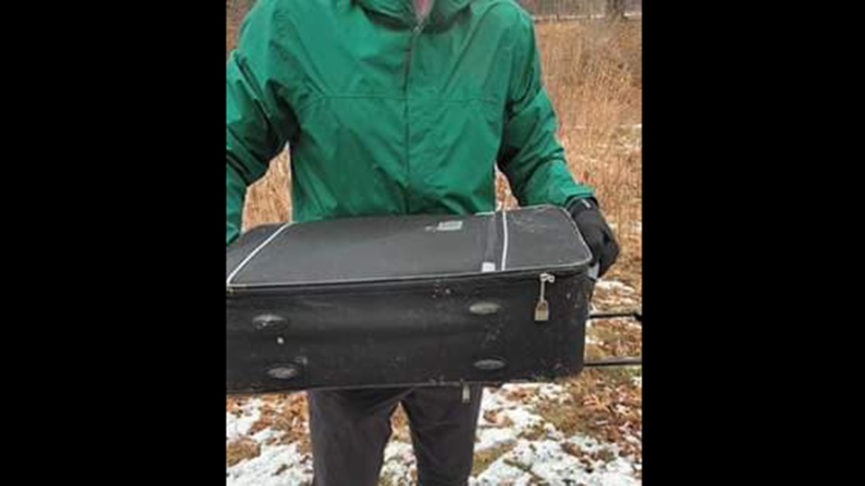 The suitcase that held a dog is shown in a Facebook image shortly after it was located on Jan. 4, 2020. (Black Dog Rescue)