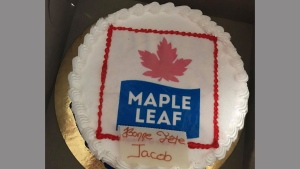 Eight-year-old Jacob Bertrand's birthday cake is shown in a handout photo. His family ordered a Toronto Maple Leafs cake for Jacob and got a cake with a Maple Leaf Foods logo instead. THE CANADIAN PRESS/HO-Tania Levesque