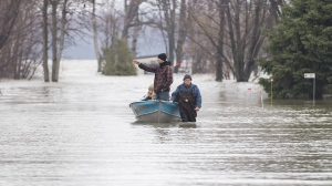 A man pulls people along a flooded residential street in a boat in Rigaud, Que, west of Montreal, Friday, April 26, 2019. THE CANADIAN PRESS/Graham Hughes