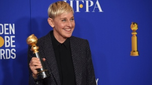 In a Sunday, Jan. 5, 2020 file photo, Ellen DeGeneres, winner of the Carol Burnett award, poses in the press room at the 77th annual Golden Globe Awards at the Beverly Hilton Hotel, in Beverly Hills, Calif.  (AP Photo/Chris Pizzello, File)